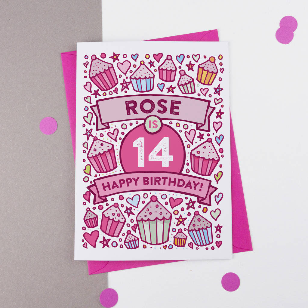 14th Birthday Card Cupcake Personalised By A Is For