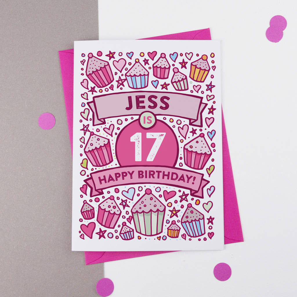 17th Birthday Card Cupcake Personalised By A Is For
