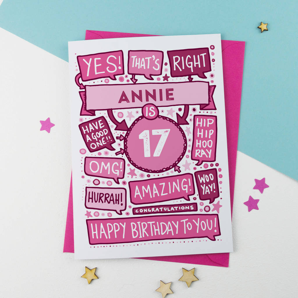 17th Thats Right Personalised Birthday Card Pink By A Is