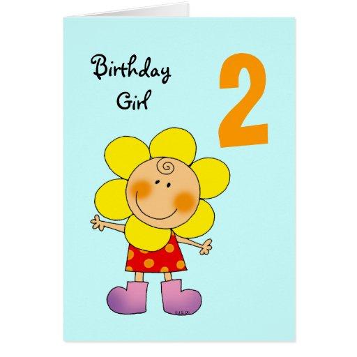 2 Year Old Birthday Girl Card Zazzle