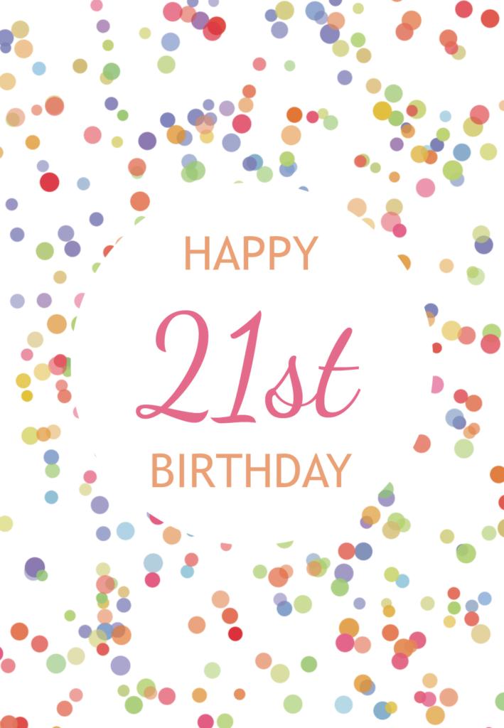 21st Birthday Confetti Free Birthday Card Greetings Island