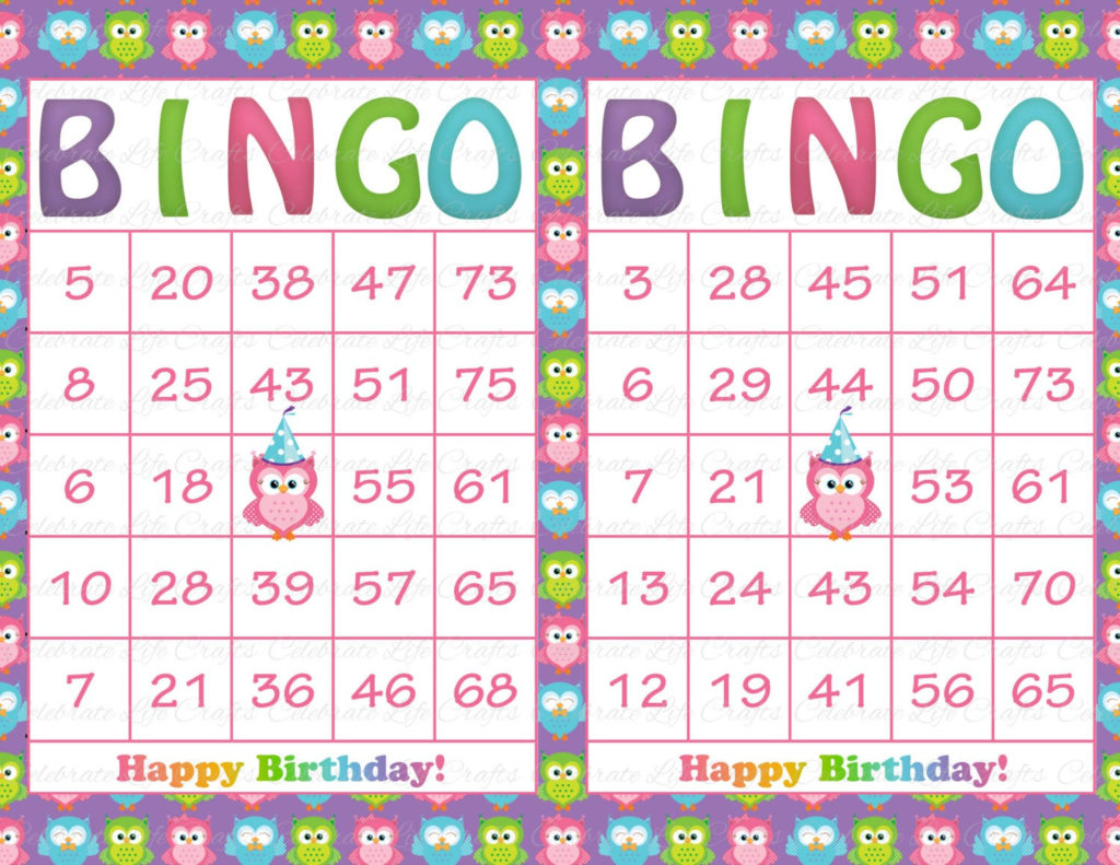 30 Purple Rainbow Owl Birthday Printable Bingo Cards Instant