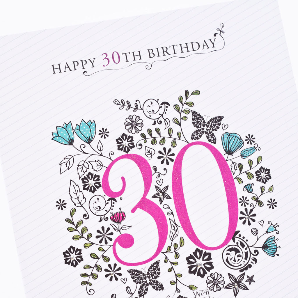30th Birthday Card Floral Print Only 99p