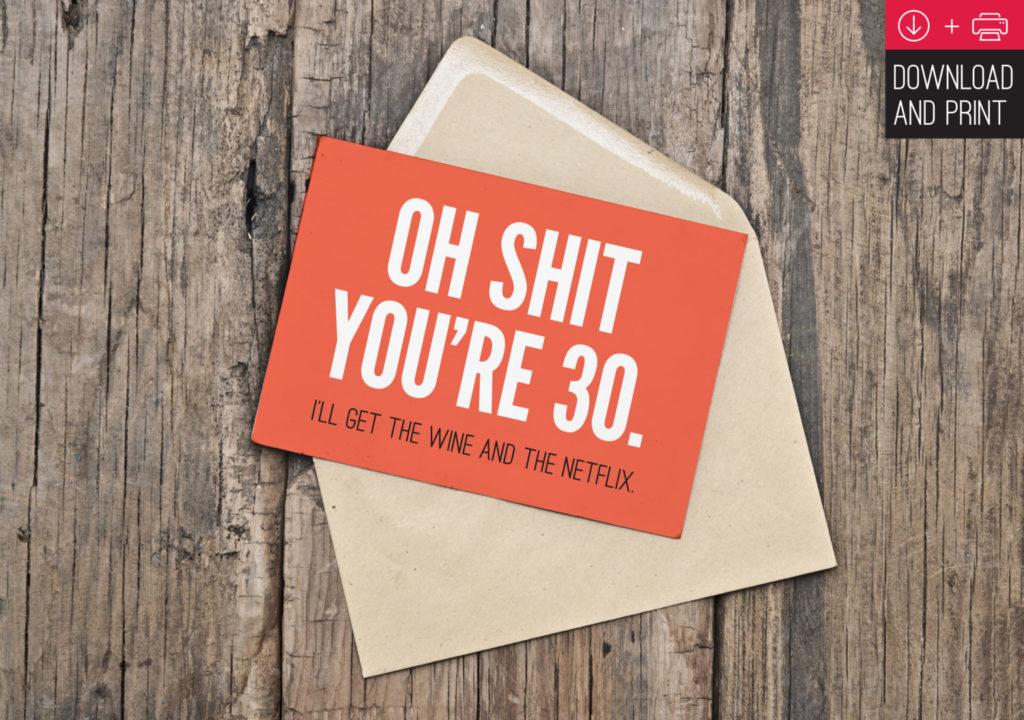 30th Birthday Card Funny Birthday INSTANT DOWNLOAD