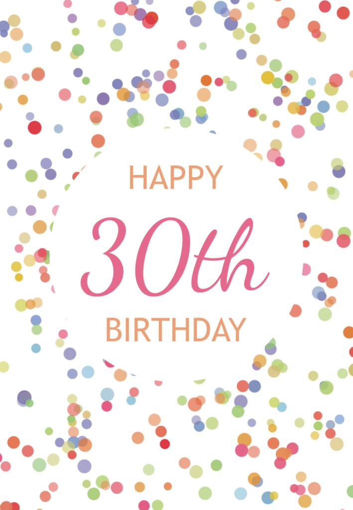 30th Birthday Confetti Free Birthday Card Greetings Island