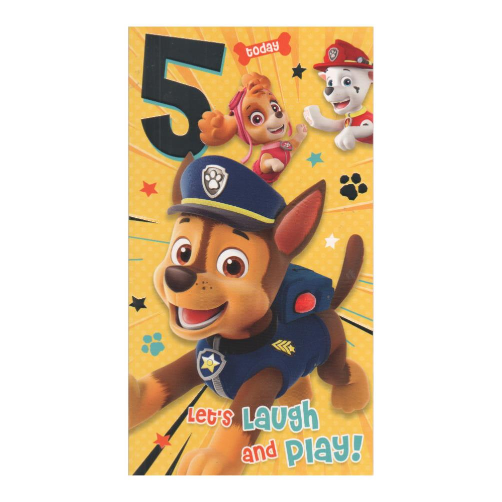 5 Today Paw Patrol Birthday Card PA010 Character Brands