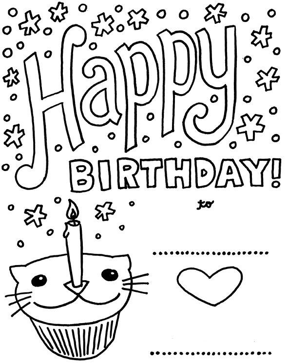 50 Gorgeous Coloring Birthday Cards KittyBabyLove