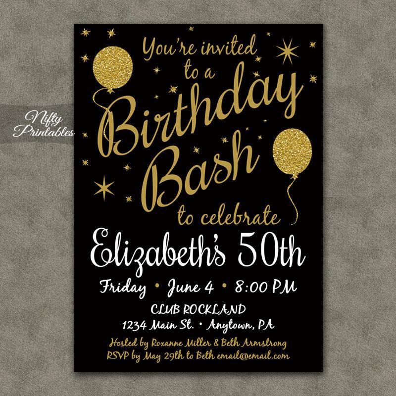 50th Birthday Invitation Printable 50 Black Gold Glitter