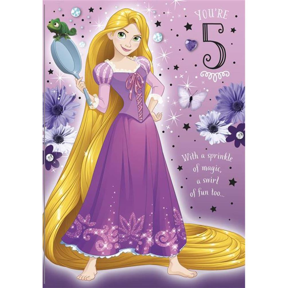 5th Birthday Rapunzel Disney Princess Birthday Card