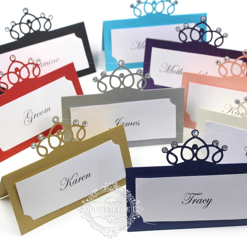 60 Laser Cut Crown Birthday Place Cards With Rhinestone