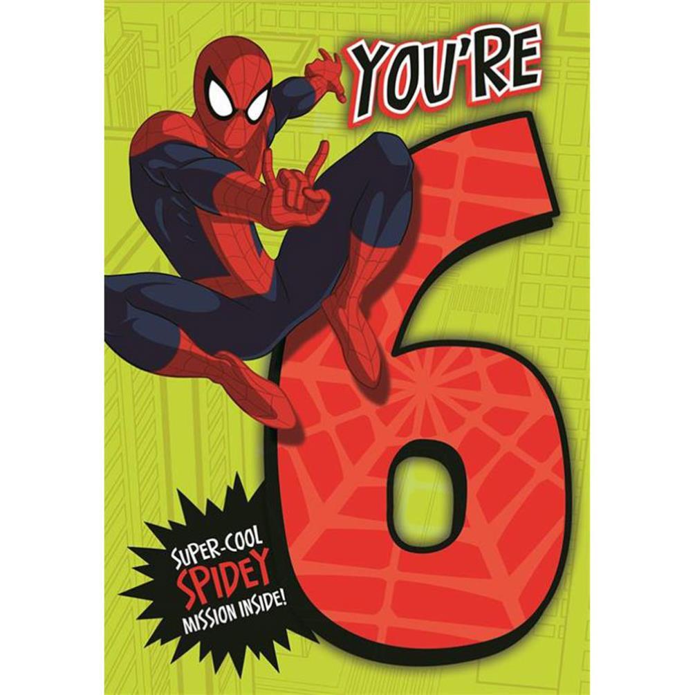 6th Birthday Marvel Spiderman Activity Birthday Card