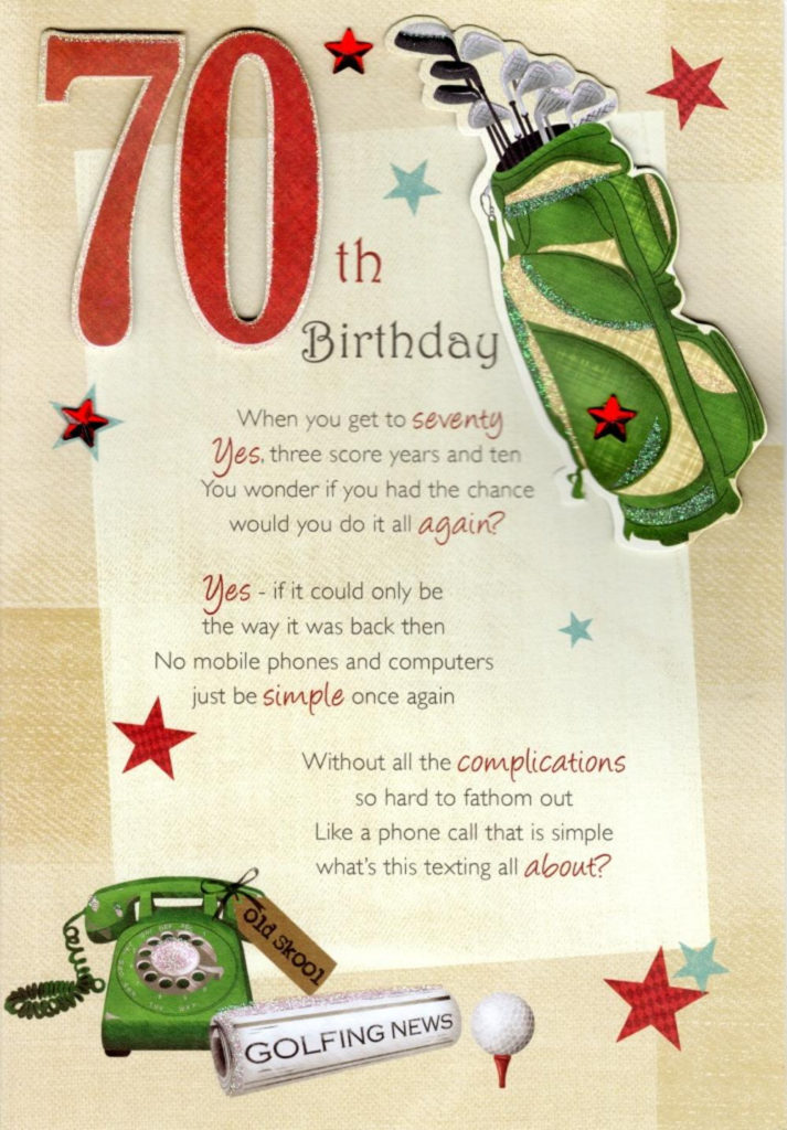 70th Happy Birthday Greeting Card Cards