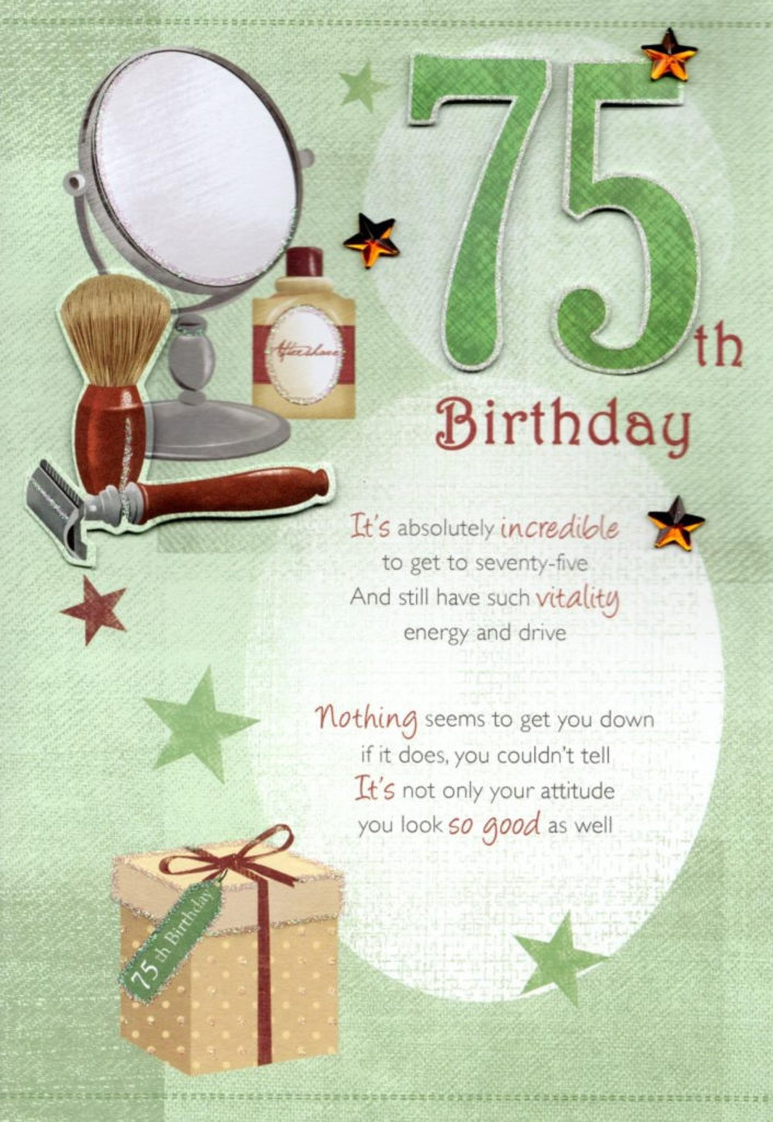 75th Happy Birthday Greeting Card Cards