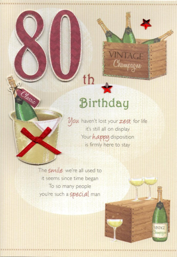 80th Happy Birthday Greeting Card Cards
