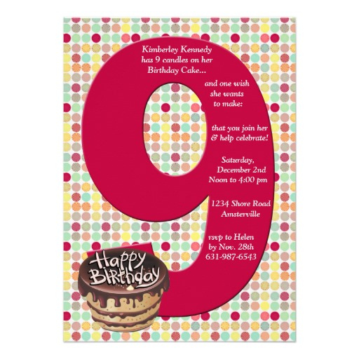 9 Years Old Birthday Invitations WordingFREE PRINTABLE