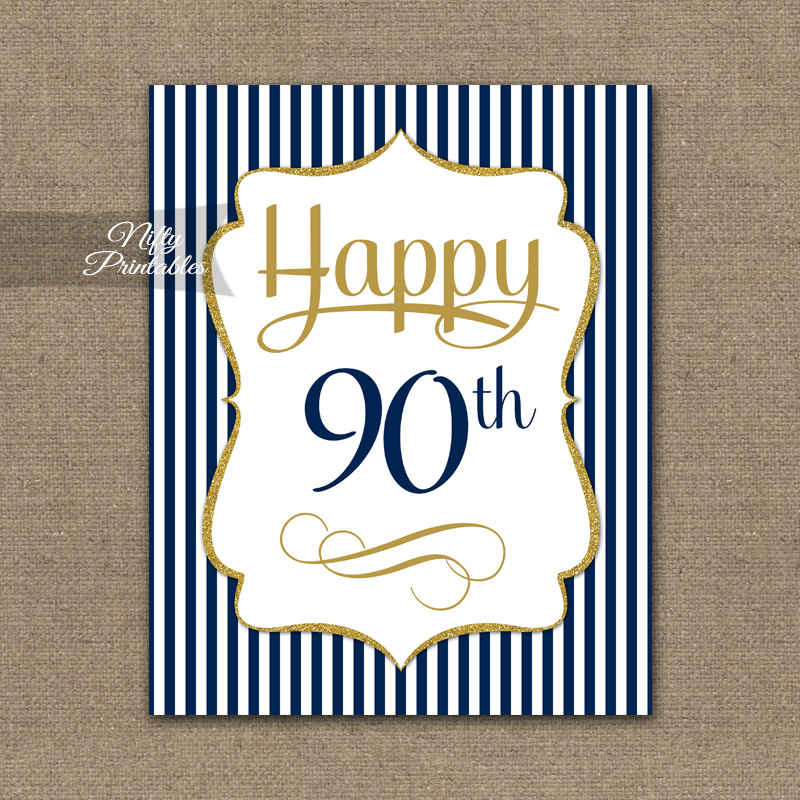 90th Birthday Sign Navy Blue Gold Nifty Printables