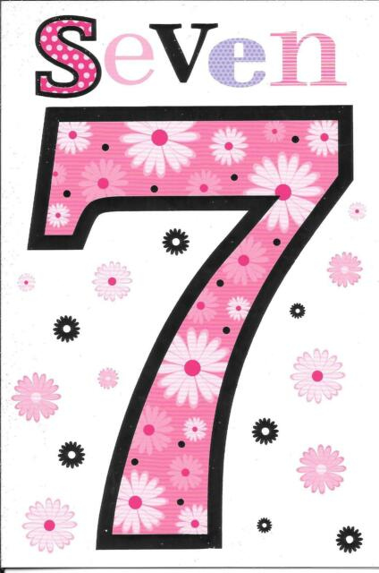 Age 7 Years Old Happy 7th Birthday Greetings Card Girl