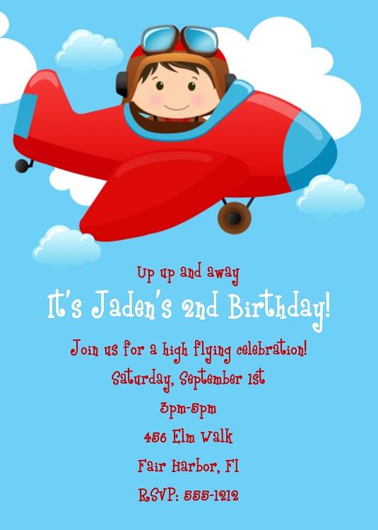 Airplane Birthday Invitations Ideas Bagvania FREE