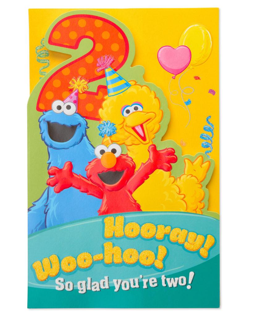 American Greetings Sesame Street 2nd Birthday Card With