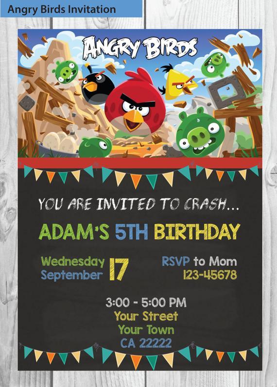 Angry Birds Invitation Angry Birds Printable Birthday