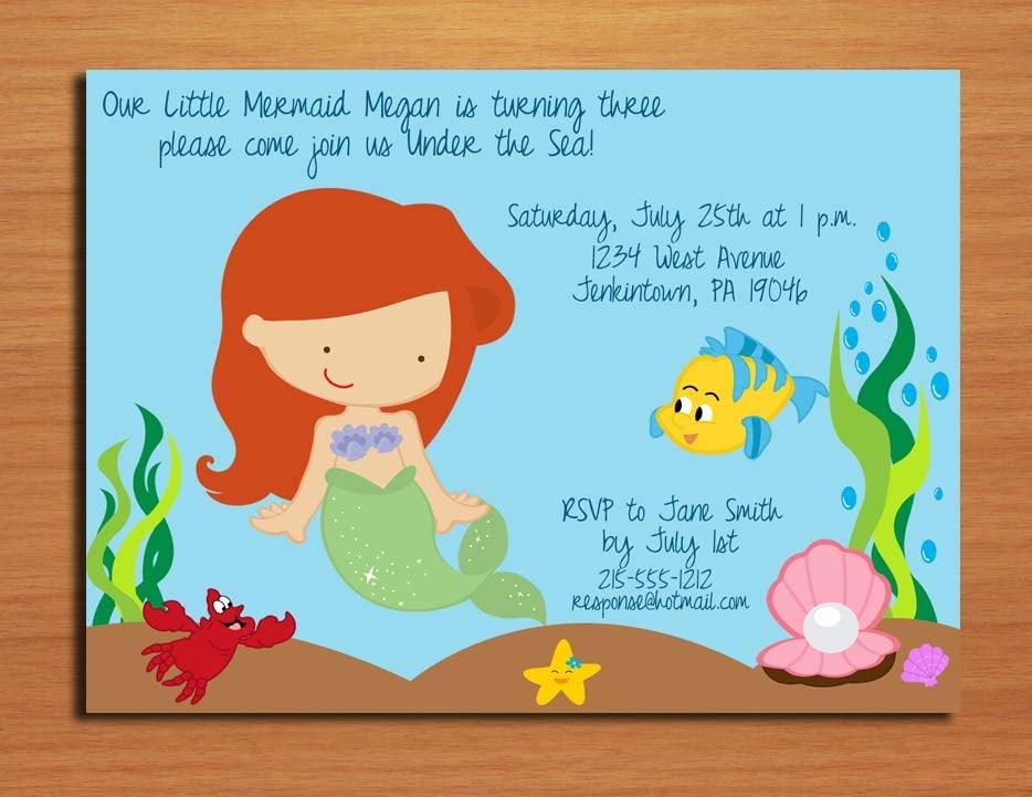 Ariel Little Mermaid Princess Birthday Party Invitation