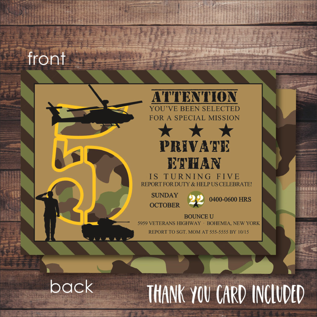 Army Invitation FREE Thank You Card File Camouflage Etsy