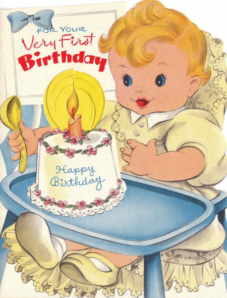 Babys First Birthday 1950s Vintage Greetings Card Digital