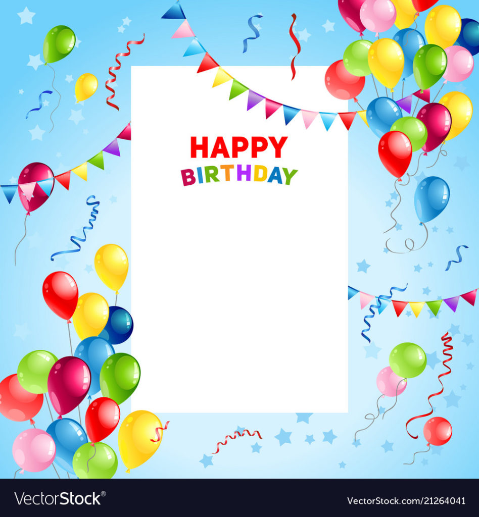 Balloons Happy Birthday Card Template Royalty Free Vector