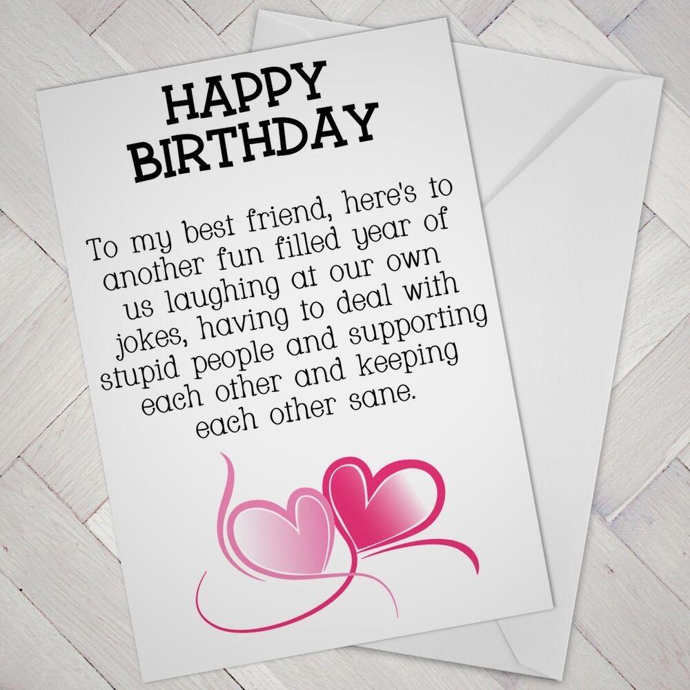 BEST FRIEND Birthday CARD FRIENDS Funny Mate Female Girl