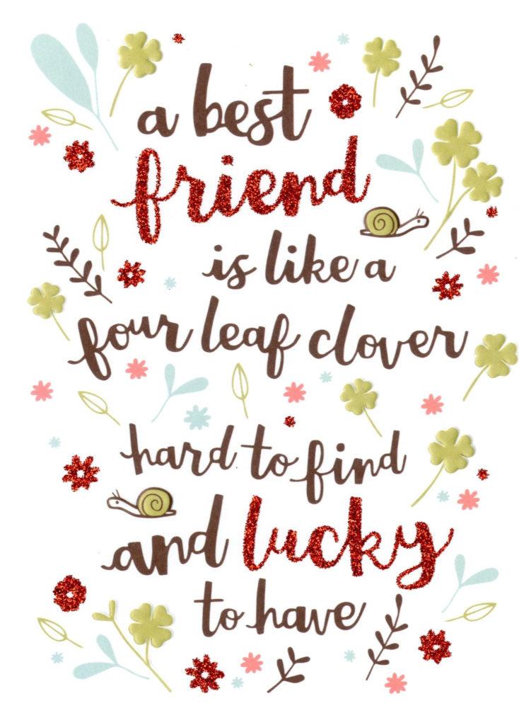 Best Friend Like Four Leaf Clover Birthday Card Second