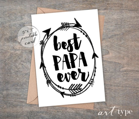Best Papa Ever Father s Day Card INSTANT Download 5x7