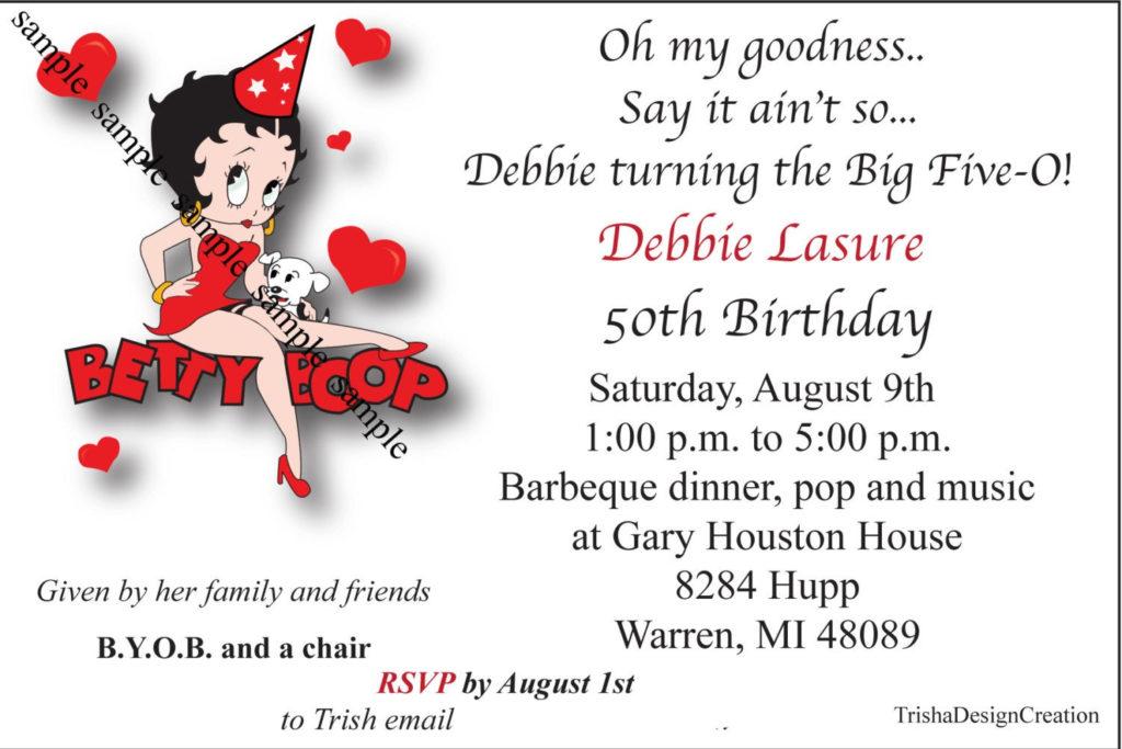 Betty Boob Theme 50th Birthday Printable Etsy