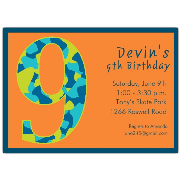 Birthday Boy Camo 9th Birthday Invitations PaperStyle