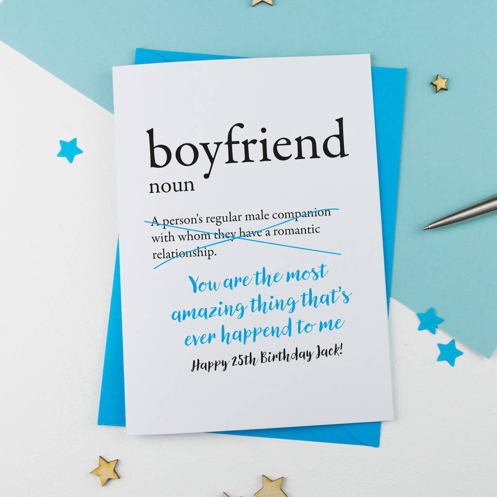 Birthday Card For Boyfriend Personalised By A Is For