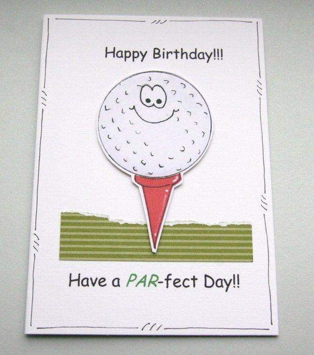 Birthday Card Golf Ball Personalised Pun Cartoon