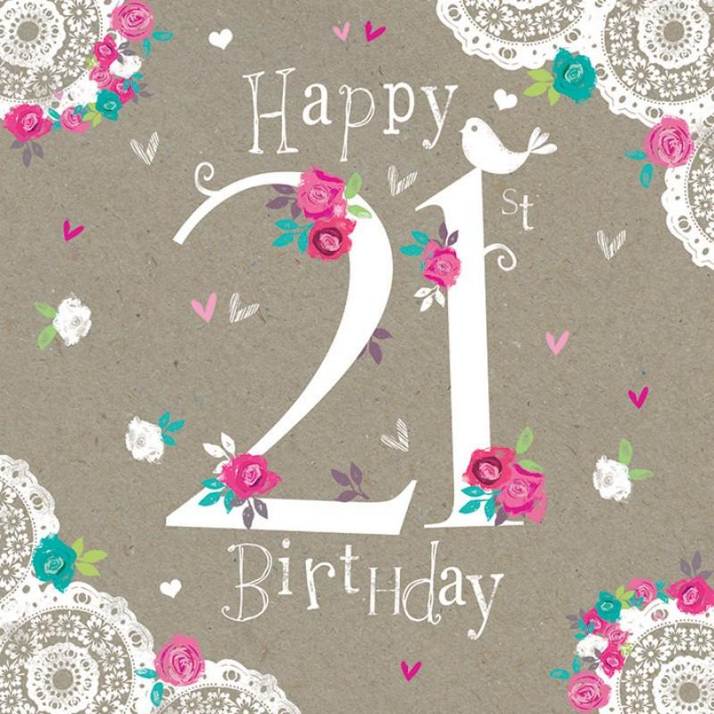 Birthday Card Happy 21st Birthday Greetings Cards
