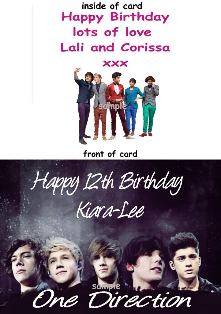 Birthday Card With One Direction Print Personalised With