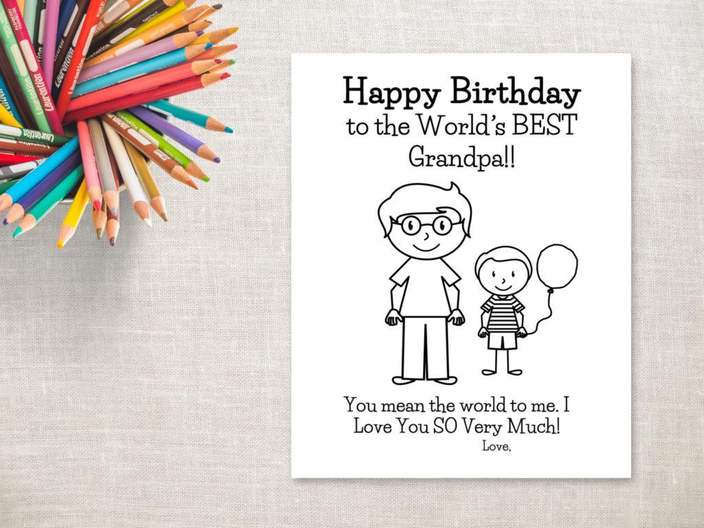Birthday Coloring Printable Boy Grandpa Birthday Card To