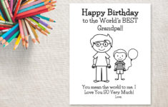Printable Birthday Cards For Grandpa To Color