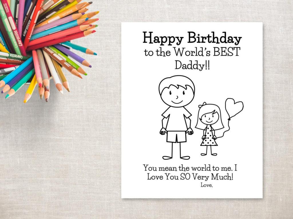 Birthday Coloring Printable Girl Dad Birthday Card To