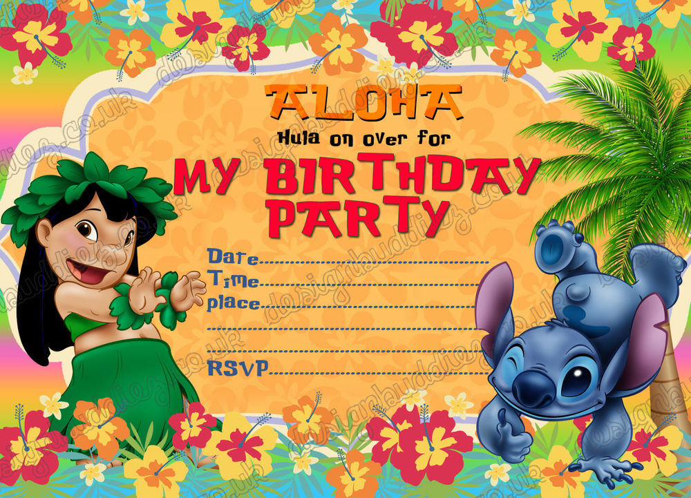 Birthday Party Invitations Lilo And Stitch Summer Party