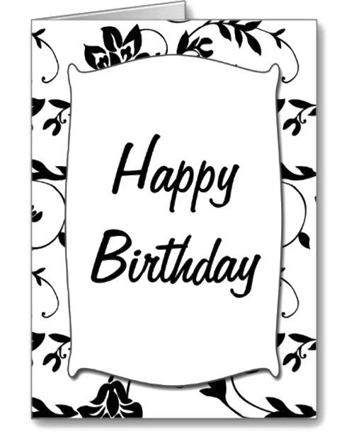 Black White Happy Birthday Card Coloring Page Happy