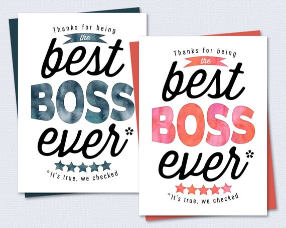 Boss Card Thanks For Being The Best Boss Ever By