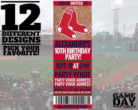 Boston Red Sox Invitation Printable By GamedayPrintable On