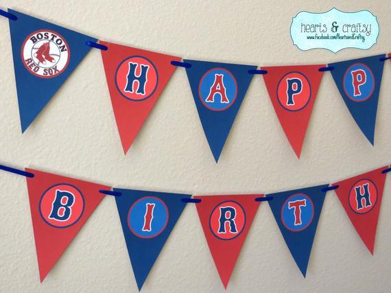 Boston Red Sox Party MLB Custom Banner Birthday Red