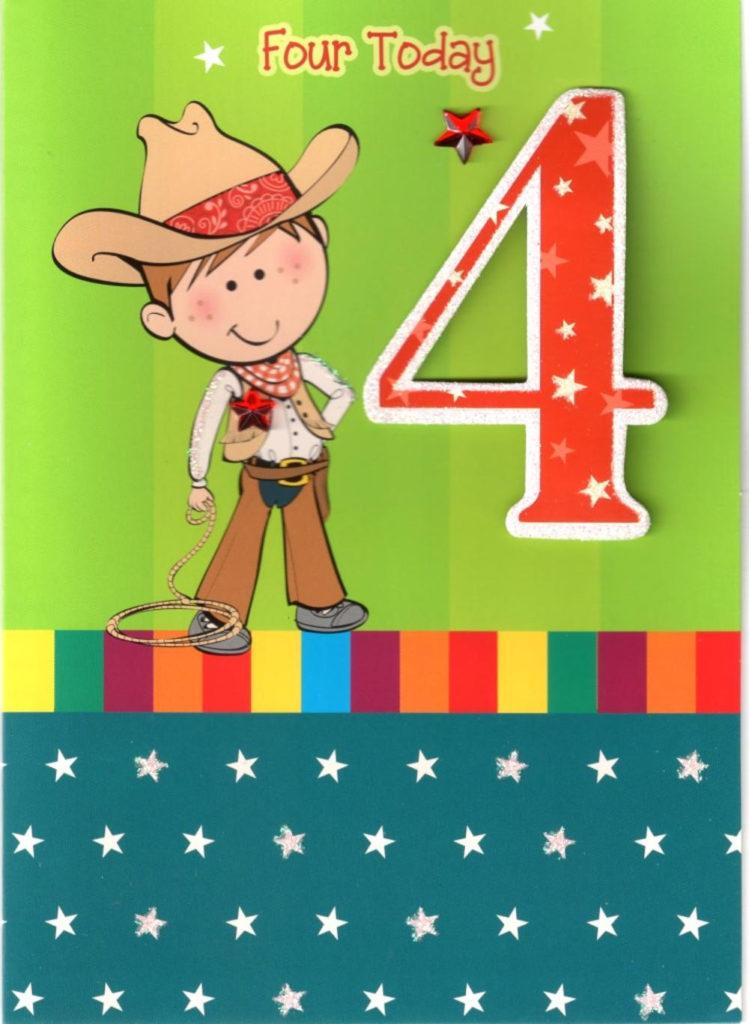 Boys 4th Birthday 4 Four Today Card Cards