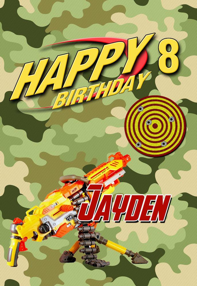 Boys Army Combat NERF Gun Personalised Happy Birthday Card