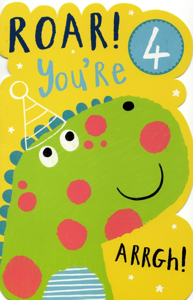 Boys Happy 4th Birthday Greeting Card With Badge Cards