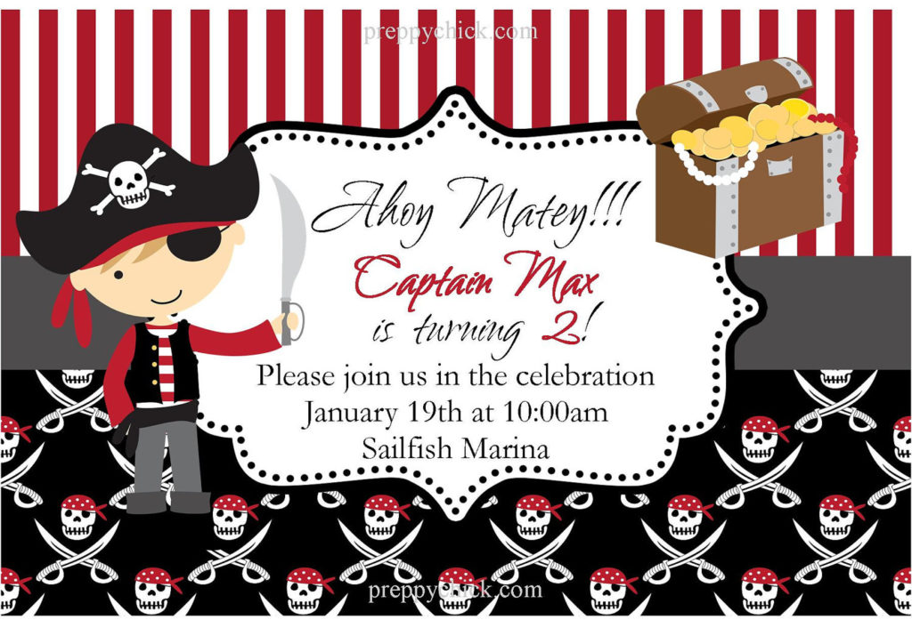 Boys Pirate Party DIY Printable Card Party By PreppyChick