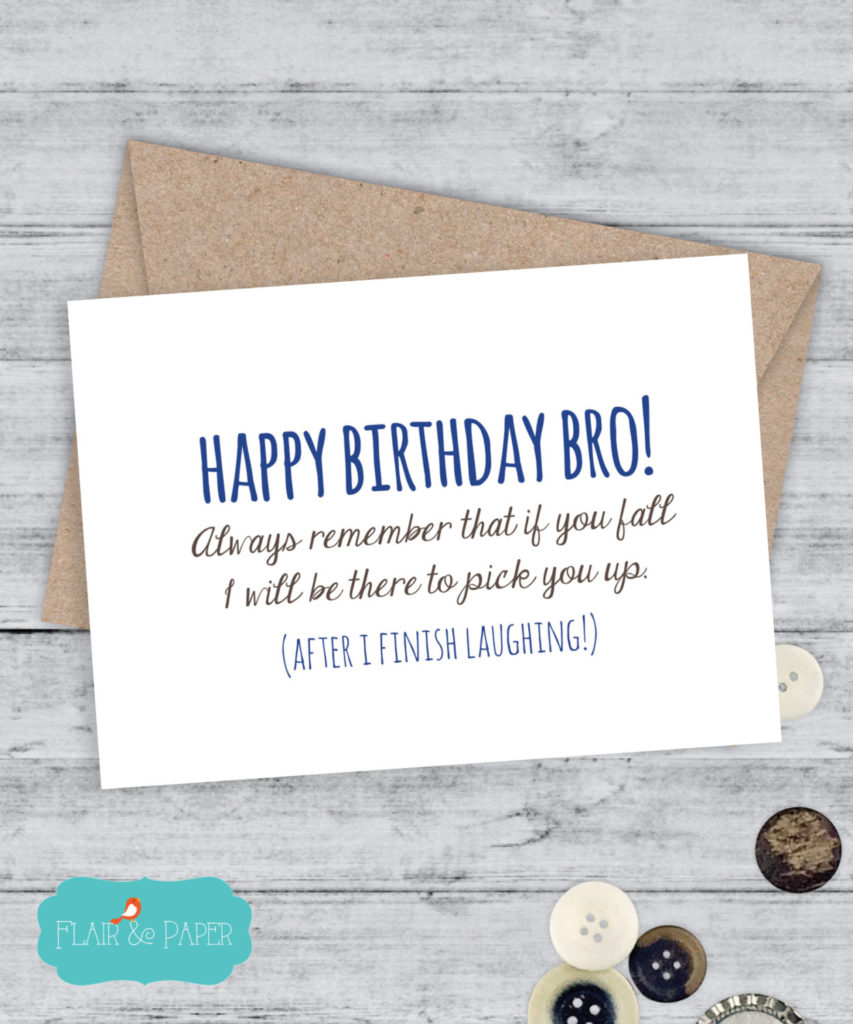Brother Birthday Card Funny Brother Card By FlairandPaper